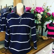 Navy & white stripe rugby in shopthumb