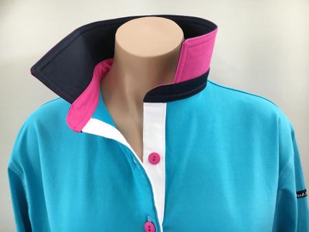 Aqua Blue Rugby - Plain navy, pink & white