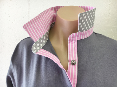 Ash Grey Rugby - Light pink stripe & grey spot