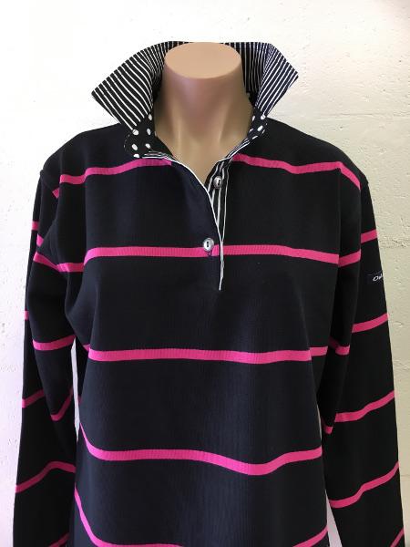 Black and pink stripe rugby - Black stripe & spot