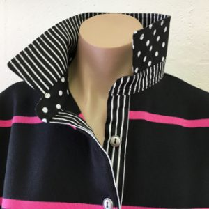Black and pink stripe rugby - Black stripe & spot
