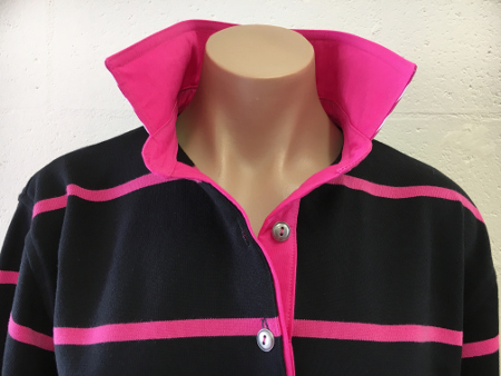 Black and pink stripe rugby - Hot pink trim