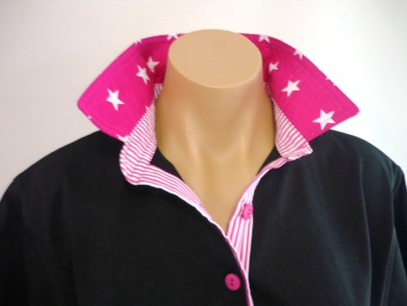 Black rugby - Hot pink star and stripe