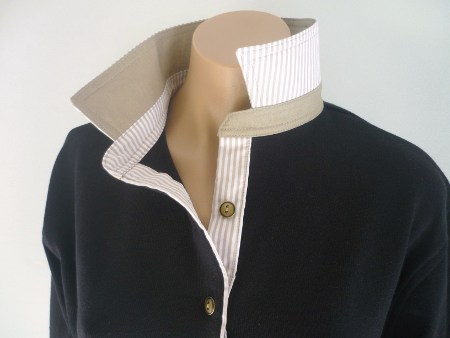 Black rugby - Plain beige and beige stripe