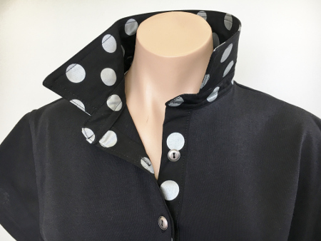 Black rugby -Large silver spotty trim