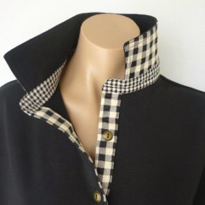 Black  rugby - Self fabric collar & black/beige check trim
