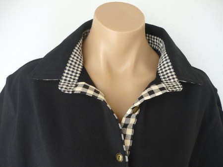 Black  rugby - Self fabric collar & black/beige check trim
