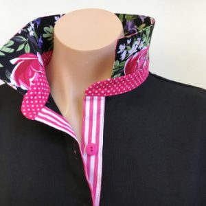 Black rugby - Black floral, pink spot and stripe