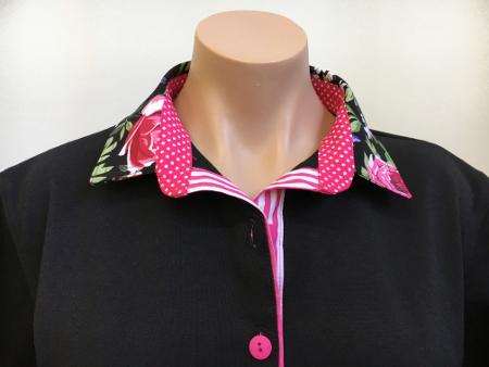 Black rugby - Black floral, pink spot and stripe