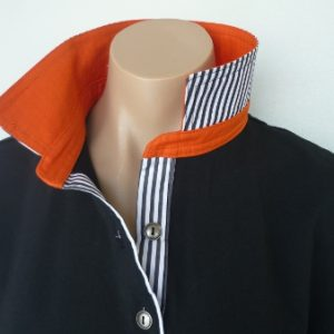 Black rugby - Burnt orange & thin black stripe