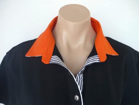 Black rugby - Burnt orange & thin black stripe
