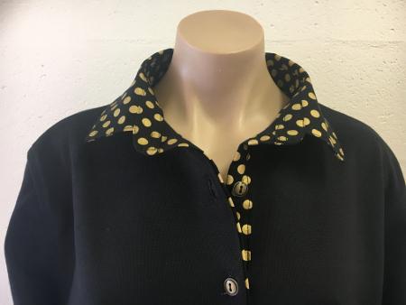black rugby - Black based gold spot trim
