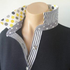 Black rugby - Yellow/grey spot & grey stars & black stripe