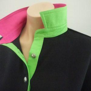 Black Rugby - Plain lime & Pink trim
