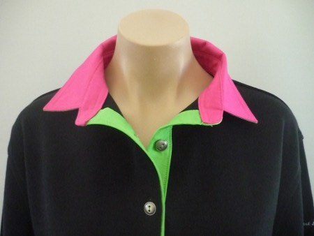 Black Rugby - Plain lime & Pink trim