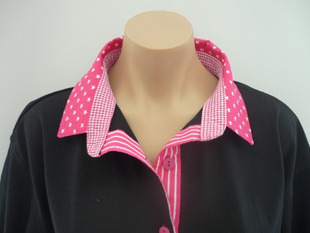 Black rugby - hot pink star, stripe and check