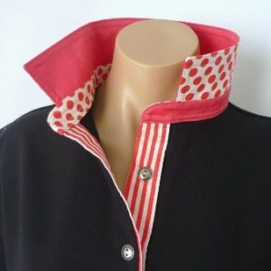 Black rugby - Plain coral with coral spot & stripe