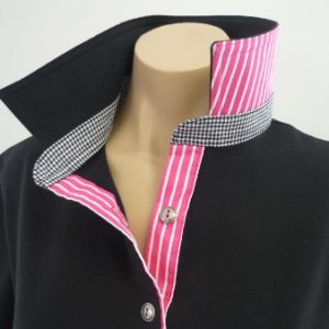 Black Rugby - small black check and hot pink stripe