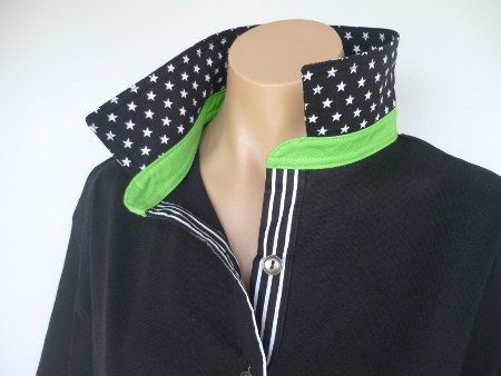 Black Rugby - Black small star collar, lime collar stand & black stripe tab