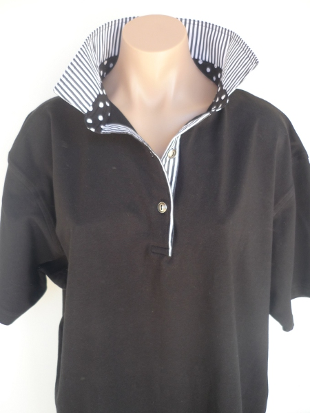 Black rugby - thin black/white stripe & black polka dot collar stand
