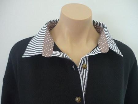 Black Rugby - Black thin stripe collar and tab & mocha spot stand