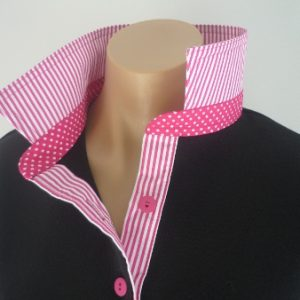 Black rugby - Thin hot pink stripe & small spot stand