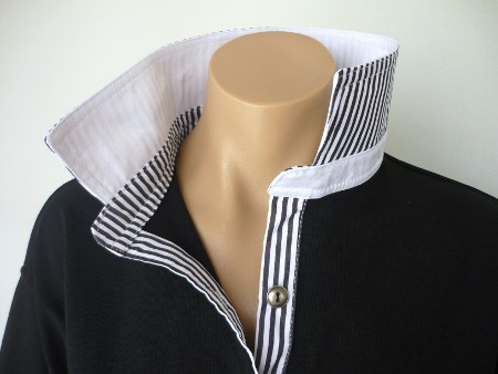 Black rugby - Plain white & thin black stripe trim