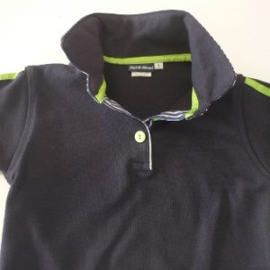 Boys navy rugby - Navy stripe trim + Lime racing stripes