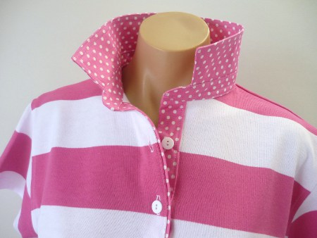 Candy Pink & White stripe Rugby - Candy spot trim