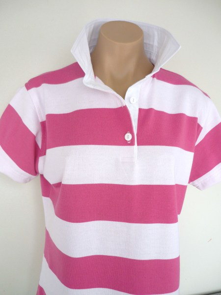 Candy pink & white stripe rugby - Plain white trim
