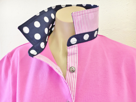 Candy pink Rugby - Big navy spots