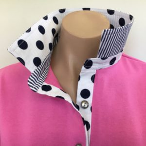 Candy pink Rugby - White with big navy spots trim