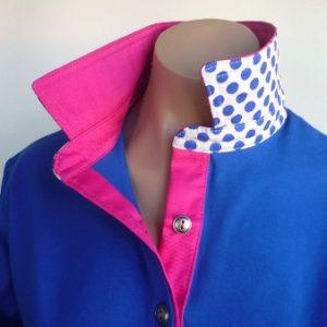 Cobalt rugby - Hot pink top collar & cobalt spot back collar
