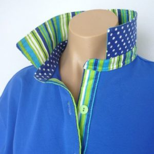 Cobalt Rugby - Green/blue stripe & cobalt spotty trim