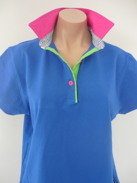Cobalt Blue Rugby - Hot pink, Lime green & navy stripe stand