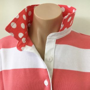 Coral & white stripe Rugby - Big coral spotty trim