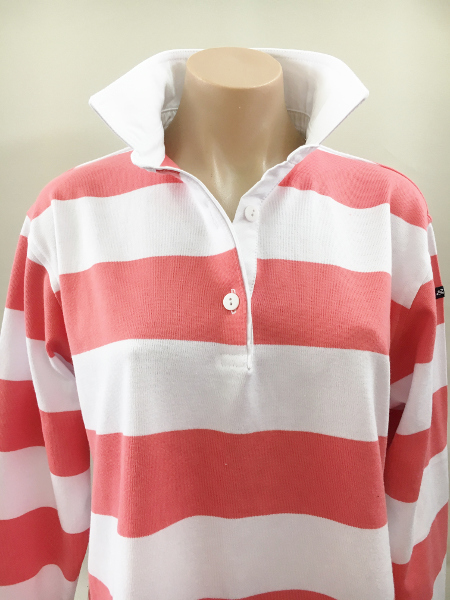 Coral & white stripe Rugby - Plain white trim
