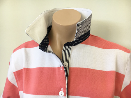 Coral & white stripe Rugby - White & small navy spot trim