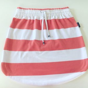 Womens Coral & White stripe rugby Skirt