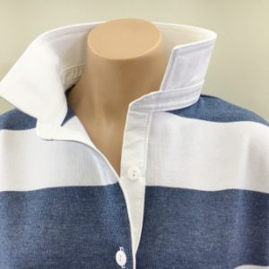 Denim & white stripe Rugby - plain white trim