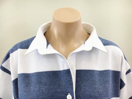 Denim & white stripe Rugby - plain white trim
