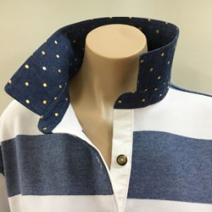 Denim & white stripe Rugby - Denim & gold spot