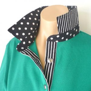 Emerald Rugby - Black spotty collar & black stripe tab