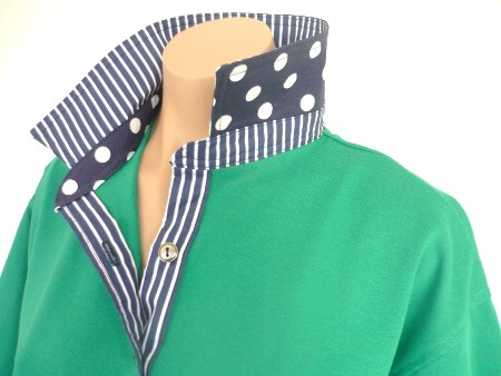 Emerald rugby - Navy stripe and spot trim
