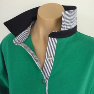 Emerald rugby - navy and navy stripe trim