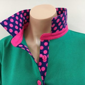 Emerald rugby - Blue & pink spot with plain pink