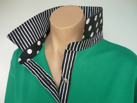 Emerald rugby - Black spot & stripe trim