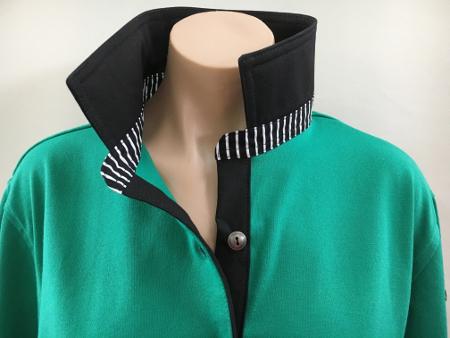 Emerald rugby - Plain black & black stripe trim