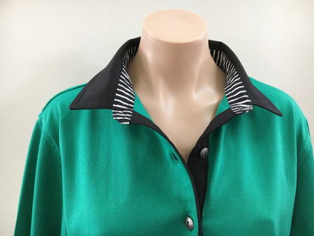 Emerald rugby - Plain black & black stripe trim