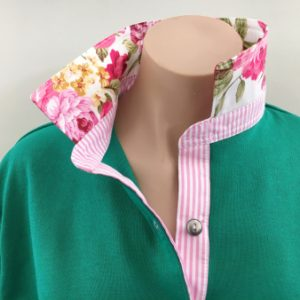 Emerald rugby - pink stripe and flowers